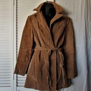 BB Dakota tan suede Pret A porter coat extra large